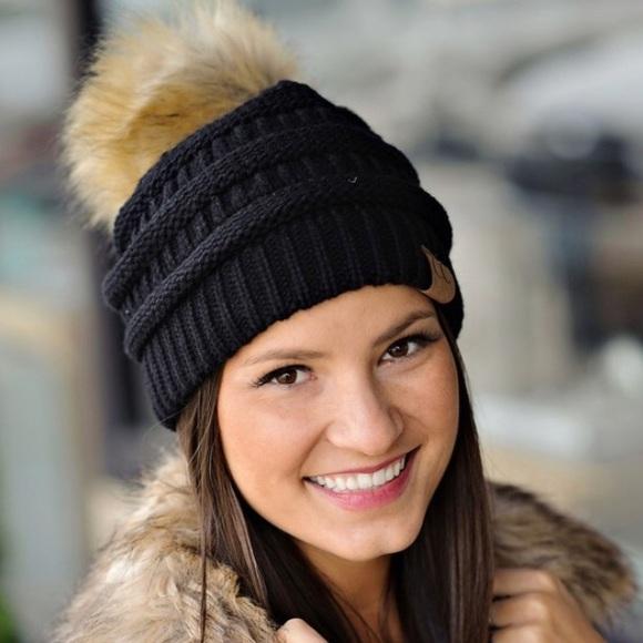 NEW CC Beanie w  Faux Fur Pom Pom - Black 3746f591730